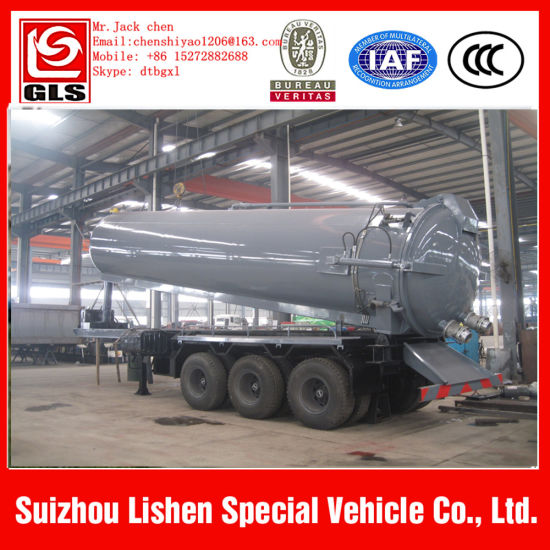 Three Axles 22cbm Oil Mud Vacuum Tank Suction Semi Trailer