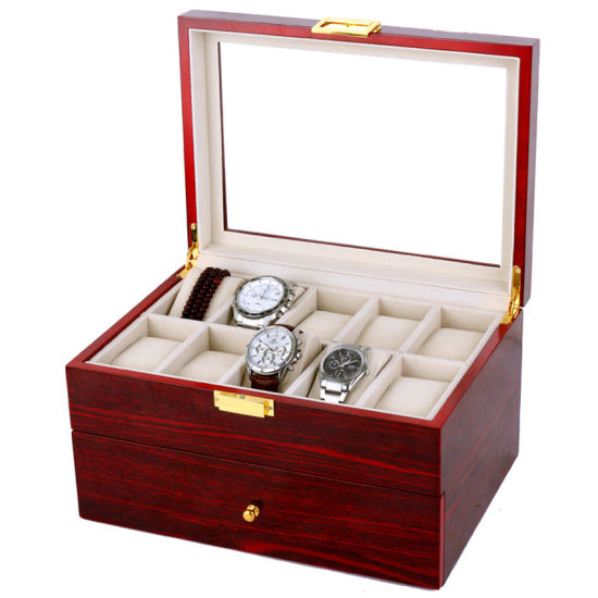 Wooden Watch Box Wooden Display Case Red Brilliant Varnish