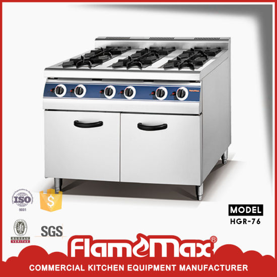 6-Burner Gas Range with Cabinet Freestanding Kitchen Equipment (HGR-76)
