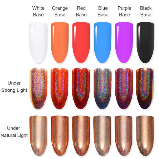 China Champagne Rose Gold Holographic Nail Glitter Mirror Rainbow