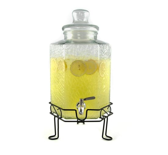 Food Grade Glass Drink Dispenser with Glass Lid and Stainless Steel Faucet pictures & photos