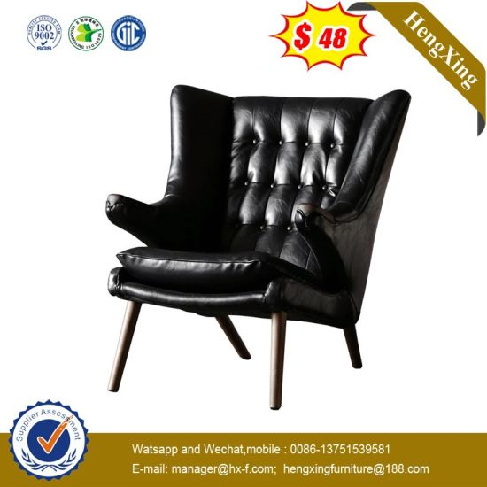 Rubber Wood Frame Lounge Study Room Reading PU Sofa Chair pictures & photos
