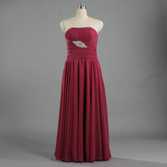 E573 Ladies Strapless Maxi Dresses Burgundy Chiffon Gowns for Weddings