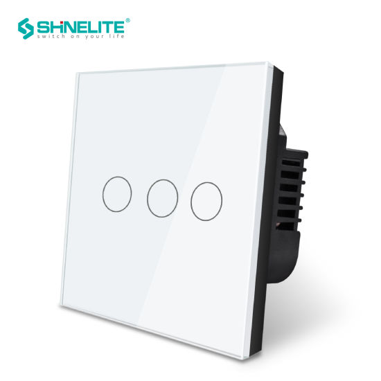 Smart Touch Wall Light Switch Glass Panel Remote 1 Way US Plug Gold 3 Gang