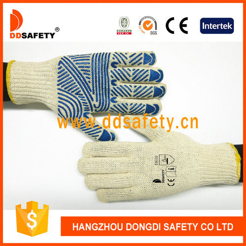 Blue PVC Dotted Cotton Protection Glove