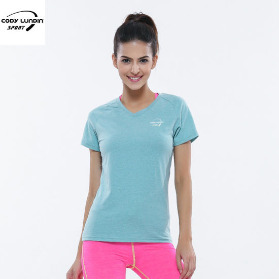 Cody Lundin Plain Cotton/Spandex/Polyester Sportswear Gym T-Shirt for Women