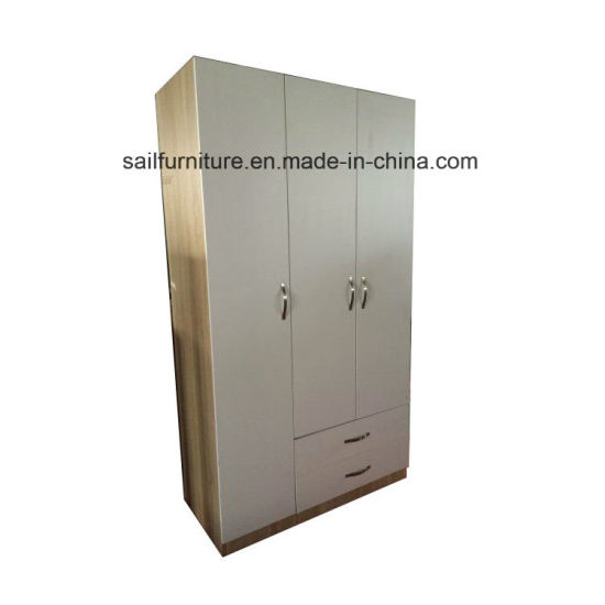 Modern Design Bedroom Furniture Three Doors and Three Drawers Wardrobe with Nordic Wood Style