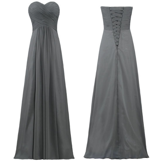 off The Shoulder Chiffon Long Bridesmaid Dresses Gray Evening Party Prom Dress for Women