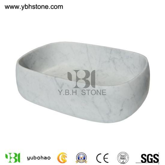 Natural Wash Basin/Bianco Carrara White Stone Sink for Bathroom