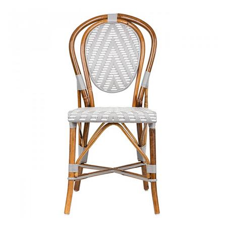 Aluminium Frame Wood-Look Outdoor Woven PE Rattan Restaurant Chair