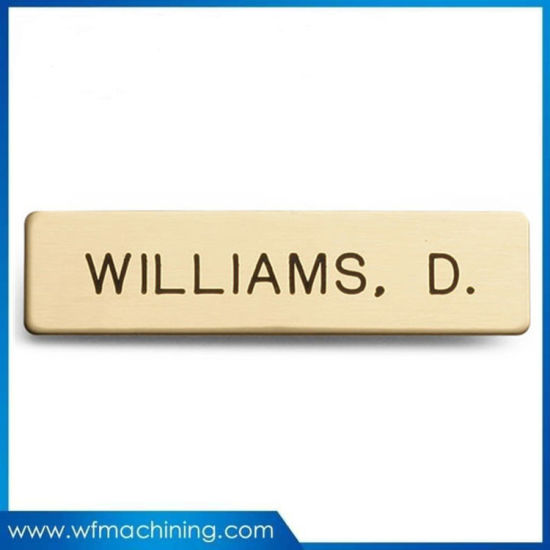Custom Brass Type Laser Engraved Logo Metal Plate/Logo Label Brushed Nameplate pictures & photos