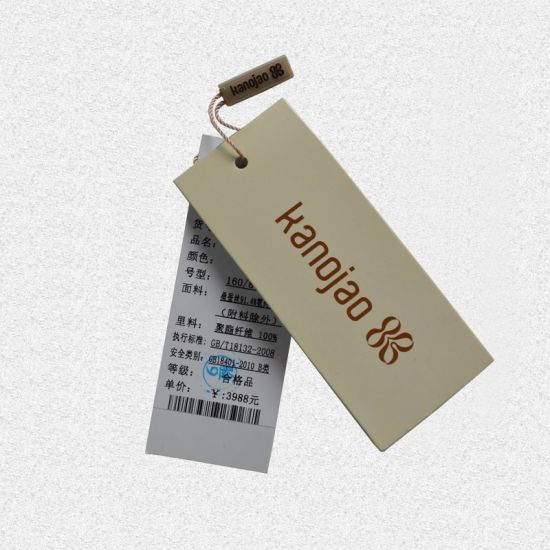 Women's Dress Apparel Hangtag Cardboard Paper with Stings
