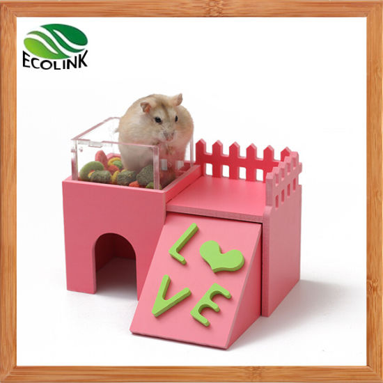Dalle Craft Double-Layer Multifunctional Sleep Nest Hideaway Castle Hideout  Restaurant for Dwarf Hamster or Mice with Natural Gym Toy