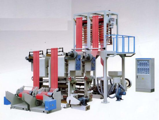 Double Heads PE PLA Blown Film Extrusion Machine with Online Printer