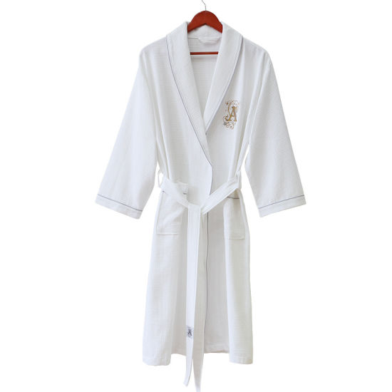 6823220be5 Customized Luxury Hotel Quality White Bathrobe with Embroidery Logo  pictures   photos