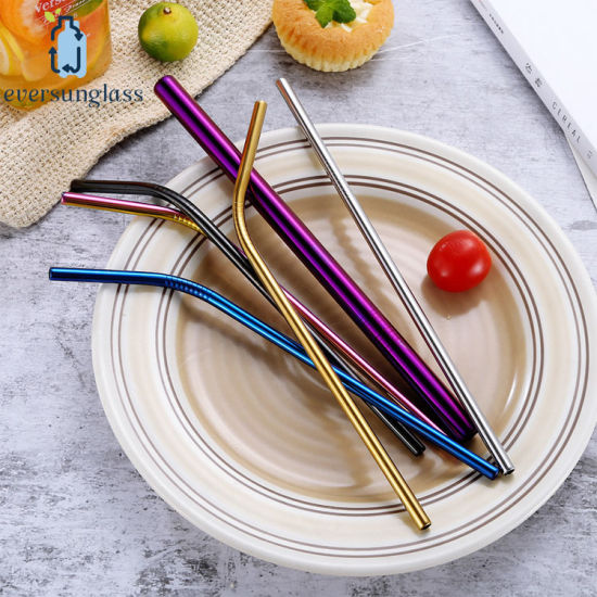 High Quality Colorful Drinking Straw Stainless Steel Metal Straws 215*6mm pictures & photos
