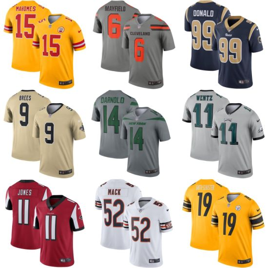 Wholesale N-F-L 2019 Gold Gray Silver Legend Putian Football Jerseys