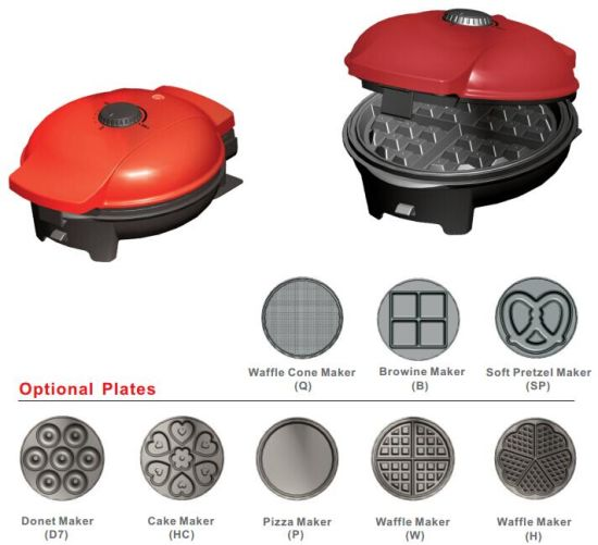 Electric 8 in 1 Changeable Plate Waffle/Cake/Donut/Pizza Brownie Maker