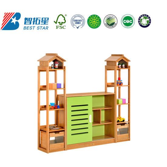 Daycare Kids Cabinet with Slide Door,School Furniture Children Cabinet,Playroom Furniture Toy Storage Cabinet,Combination Cabinet for Kinderargen and Preschool