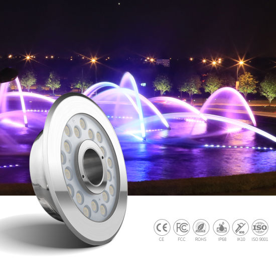 SS316L IP68 24W External Control RGB LED Underwater Fountain Light