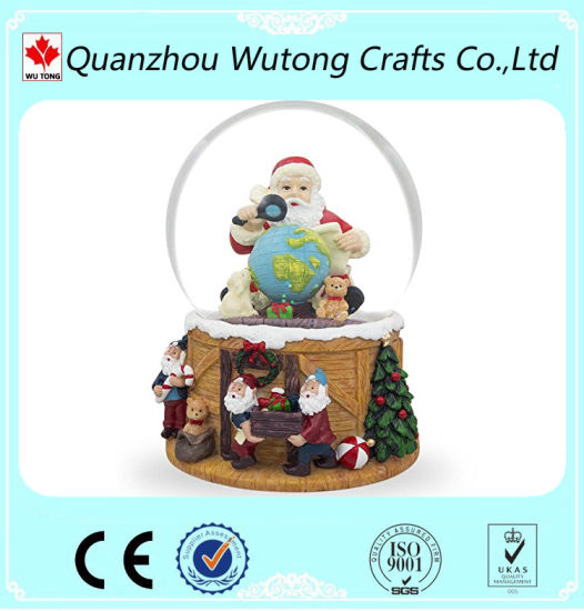 China Resin Christmas Crafts Santa Claus With Tellurion Snow