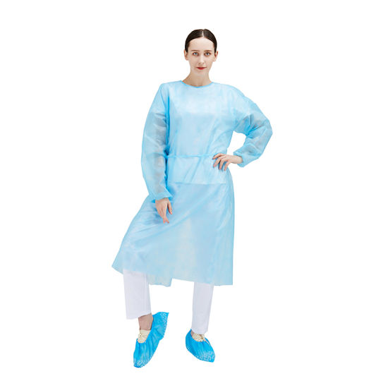 Disposable PP PE Non Woven Isolation Gown Protective Clothing