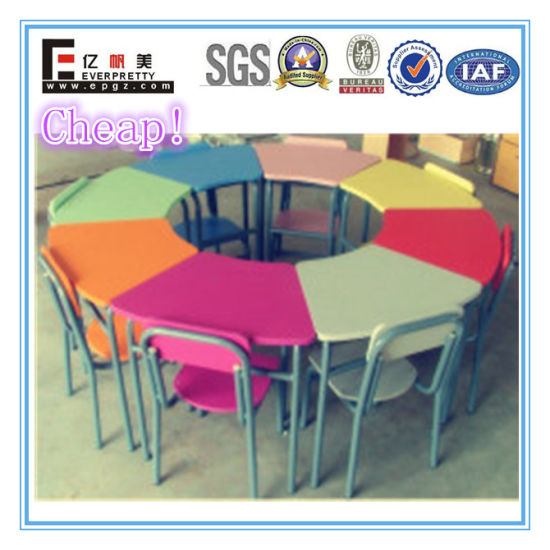 8 Seater Colorful Wooden Kids Table And Chair For Kindergarten