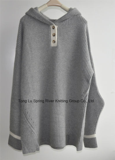 Wool Cashmere Ladies Knit Pullover Sweater Hoodies
