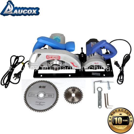 Mj09 Mini 2 in 1 Wood Precision Table Panel Saw with Main Saw and Scoring Saw Blade Woodworking for MDF