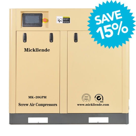 Mickllende Efficiency Inverter 1.15 to 45m3/Min Permanent Magnet Motor Screw Air Compressor for Industrial