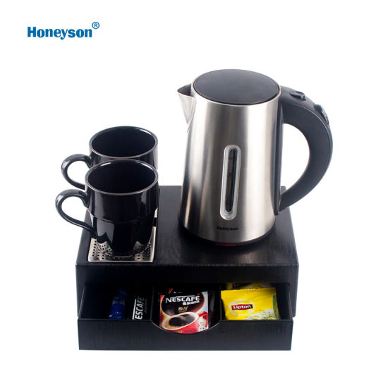 Honeyson Top Stainless Steel Hotel Electric Kettle Welcome Tray Set