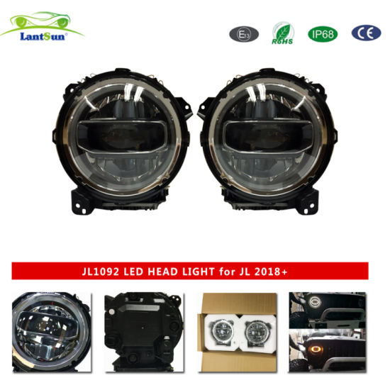 Black Round LED for Jeep Headlights Replacement for Jeep for Wrangler Jl1092