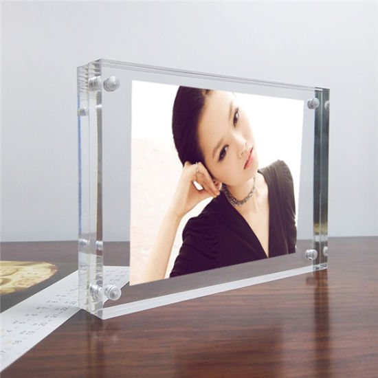 Clear Acrylic Photo Frame Double Sided Magnetic wedding photo Desktop US Stock