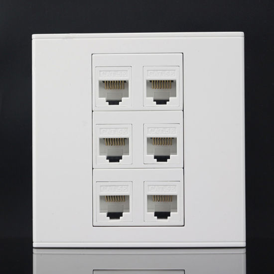 China Six Ports 86mm Cat5e Keystone Wall Plate Faceplate RJ45 Jack ...
