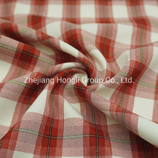 94%Polyester 6%Spandex Cationic Check Plaid Poly Span Fabric #20007
