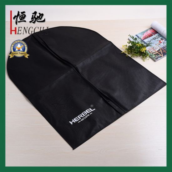 Simple Style Zippered Black Printed Non Woven TNT Polypropylene Garment Cover Bag pictures & photos