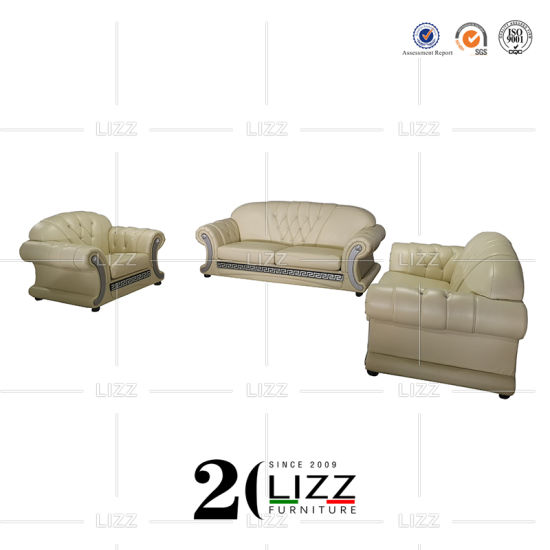 China Divani Casa Versace Living Room Chesterfield Leather Sofa