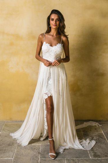 ce860148e6 Lace Bridal Gown Spaghetti Chiffon Garden Beach High-Low Wedding Dress Y6401