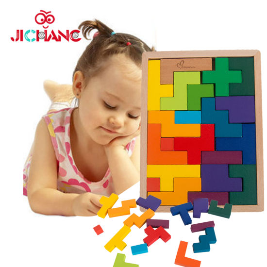 China Intelligent Classic Wooden Tetris Puzzle Game Kids Toys