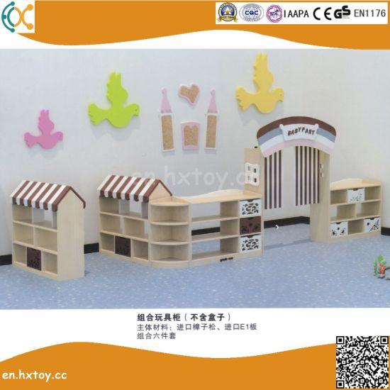 2018 Latest Preschool Wooden Toy Shelf for Kids