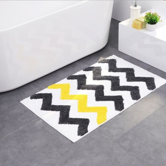 Wave Pattern 3 Cm Pile Height Tufted Mat Rugs With Tpr Non Skid Backing Bathroom Rug