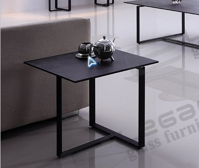 50X50 Suare Iron Tea Table with Stone Power Fininsh Glass Top pictures & photos