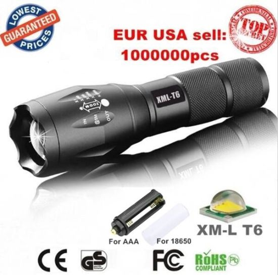 USA EU Hot CREE Xml T6 LED 3800lm Aluminum Waterproof Zoomable Torch 18650 Rechargeable or 3*AAA Battery Zoom Flashlight pictures & photos