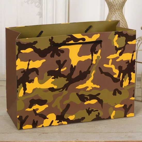 Custom Fashion Camouflage Leopard Printed Paper Packaging Bag Design Ping
