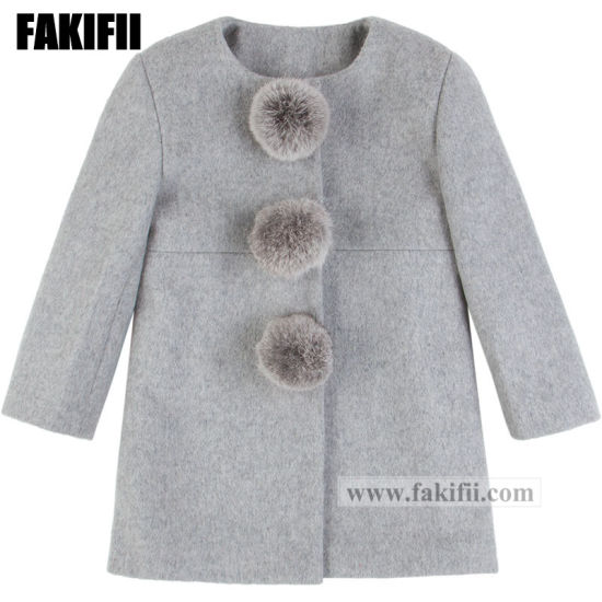 Fashion Baby Clothing Children Garment Winter Girl Grey Woolen Coat with Fur Ball Wool Wear pictures & photos