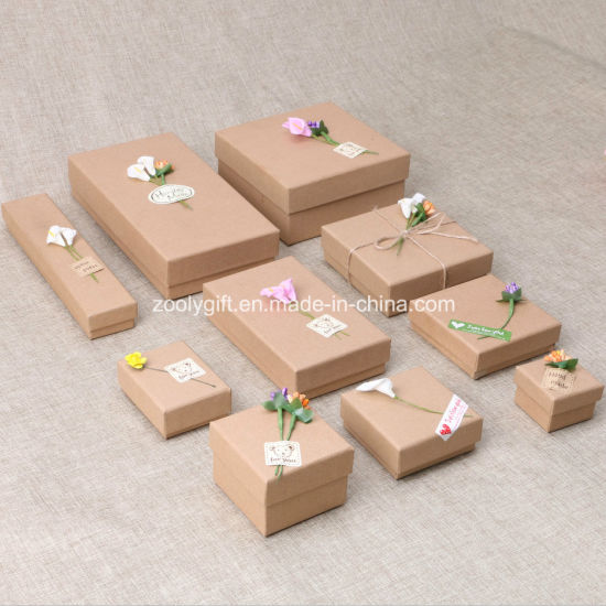 China Wholesale Diy Kraft Paper Jewelry Gift Packing Box Sticked With Flower China Jewelry Box And Gift Box Price