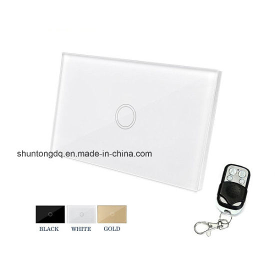 Us Standard Smart Remote Control Touch Switch 110V-240V AC Glass Panel Durable Dirt-Resistant 1 Gang 1 Way Wall Light Switches with 433 Remote Controller