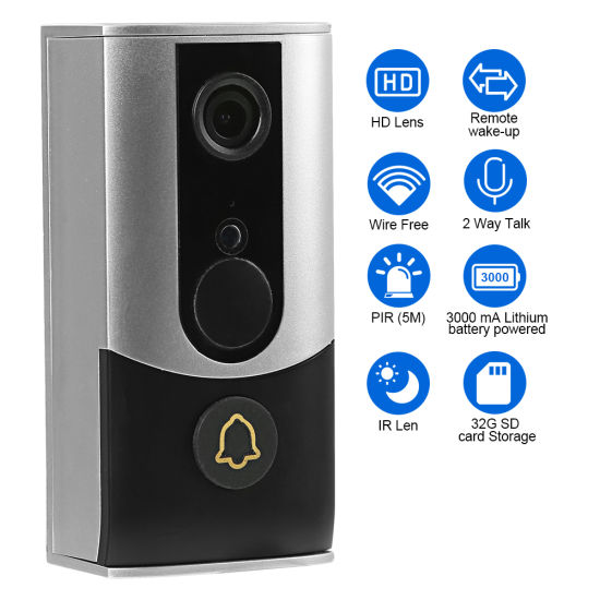 1080P/ 2 Million Pixels WiFi Battery Video Doorbell with 2 Way Audio Function pictures & photos