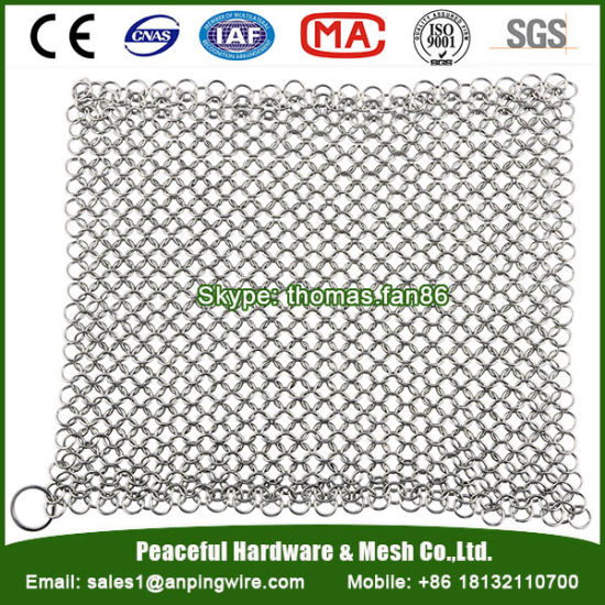 Cast Iron Pan Scrubber / Stainless Steel Chain Mail Mesh Cleaner pictures & photos