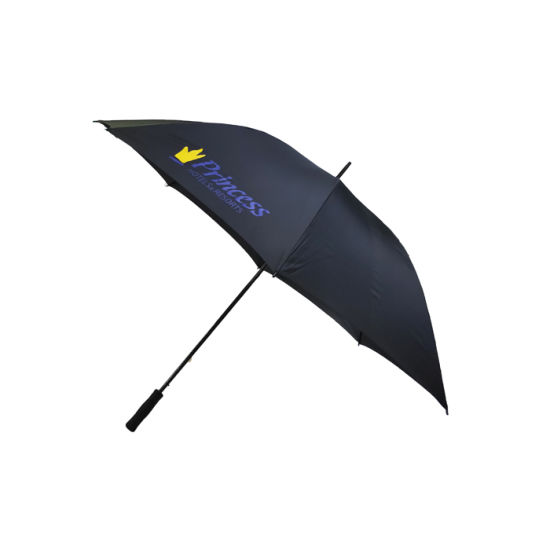 High Quality Large Windproof Black Golf Umbrella Promotion Fiberglass Umbrella